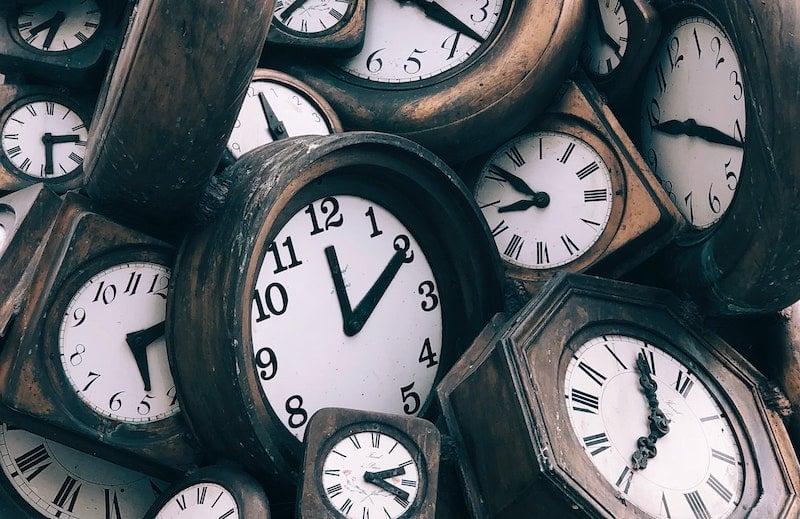 brown and white clocks